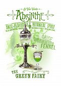 picture of absinthe  - the green fairy Absinthe isolated on white - JPG