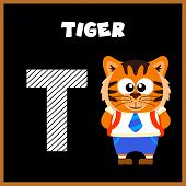 picture of letter t  - The English alphabet letter T Tiger  - JPG