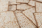 foto of matzah  - Matzot for pesach pile isolated on white background - JPG