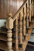 image of carving  - wood staircase banister carving wooden thai style - JPG