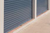 picture of roller shutter door  - steel roller shutter door weathered - JPG