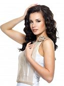 pic of black curly hair  - Beautiful  young woman with beauty long curly hair - JPG