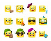 image of emoticons  - Funny and cute emoticons travelers with different things - JPG