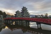 stock photo of castle  - This photo was shot from Matsumoto Castle Japan in early morning - JPG