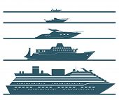 stock photo of boat  - Flat icons of boats ranked by size - JPG