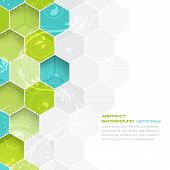 picture of hexagon pattern  - Abstract vector background with hexagonal and floral pattern - JPG
