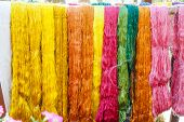 image of silk worm  - Multicolored silk thread woven into the fabric for comfort - JPG
