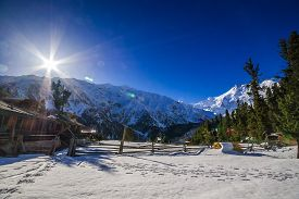 stock photo of skardu  - Sunrise over mountain peak Northern area of Pakistan - JPG