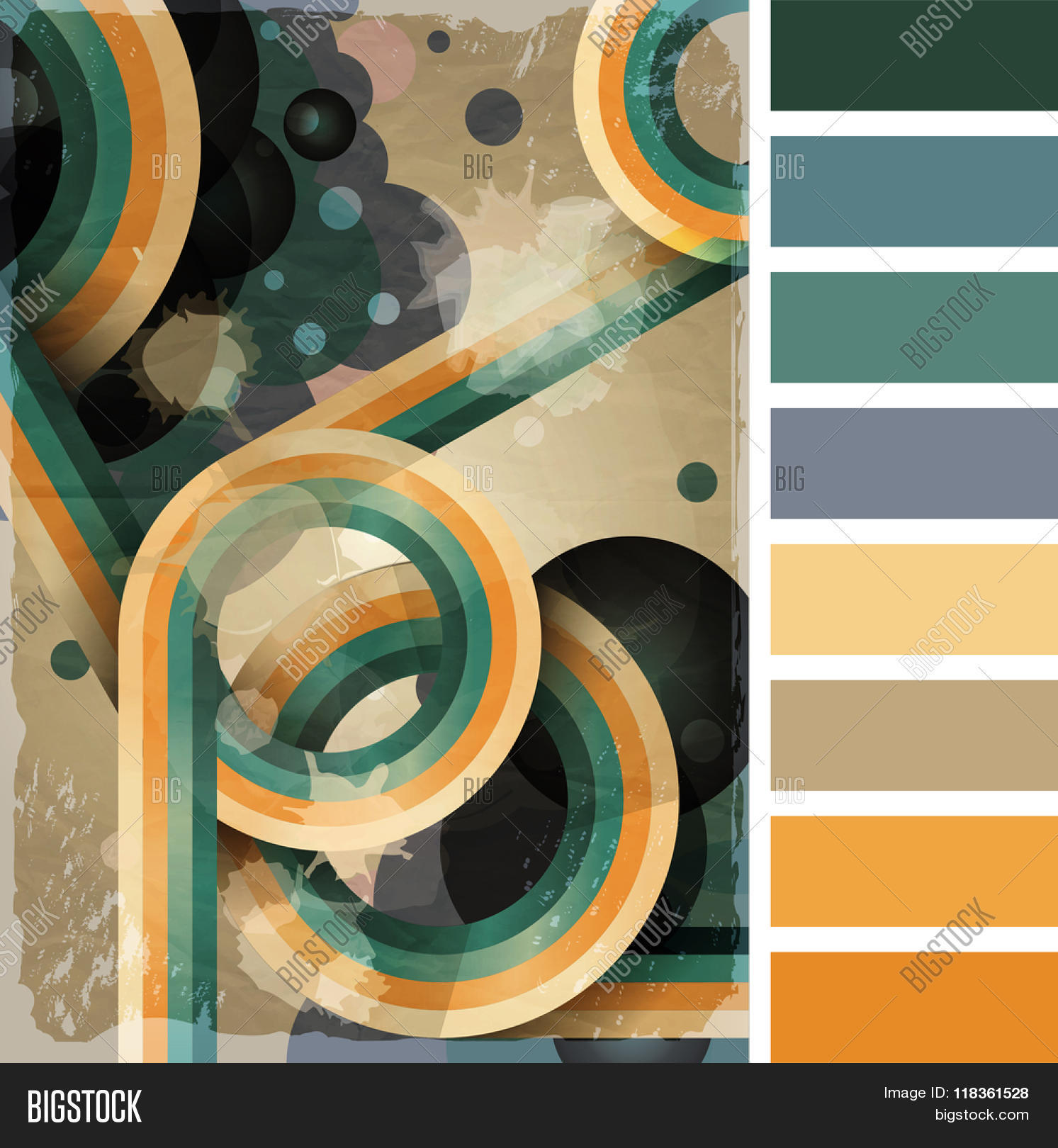 70s poster design template - Retro Poster Template With Bubbles Circles Lines And Paint Splashes 1960s 70s