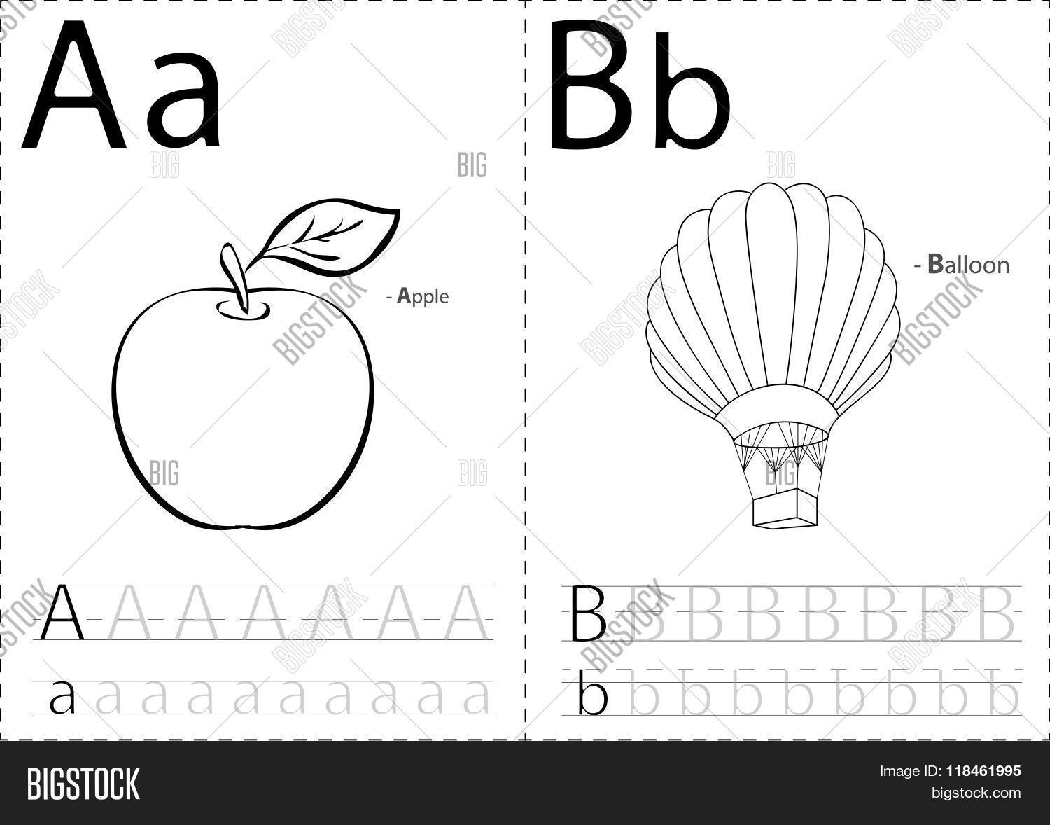 Cartoon Apple Balloon Alphabet Vector Photo – Alphabet Tracing Worksheets A-z