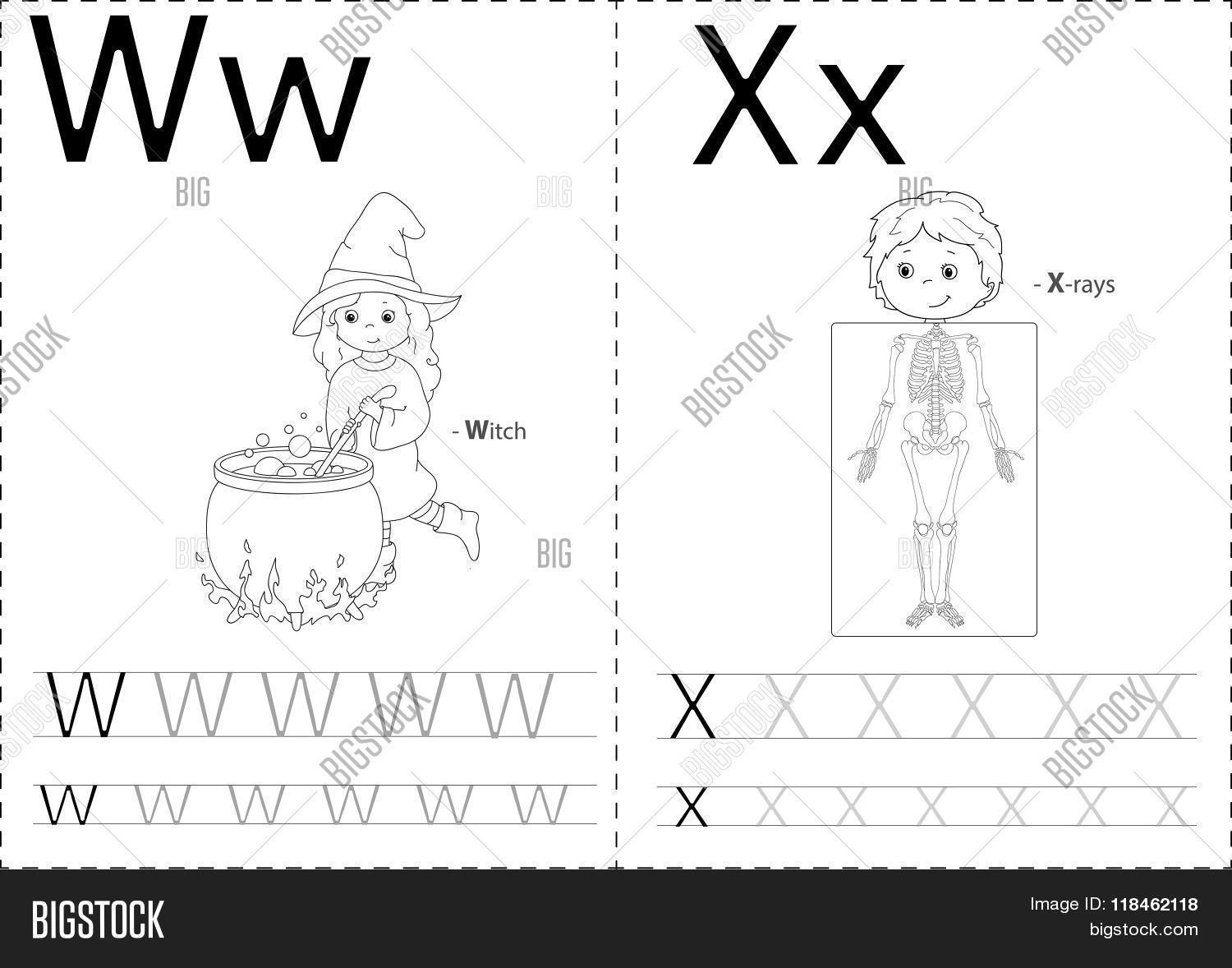 Cartoon Witch Xrays Alphabet Vector Photo – Alphabet Tracing Worksheets A-z