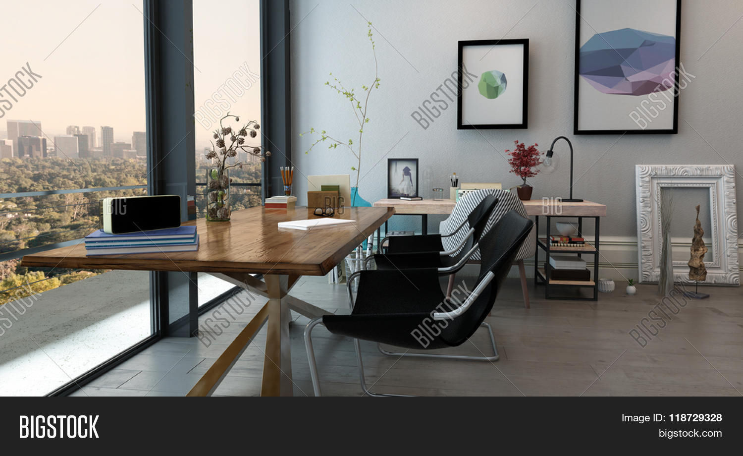 Panoramic Interior Of Open Concept Office In Modern High