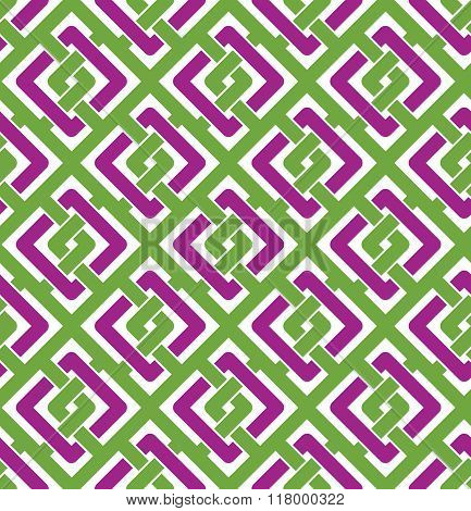 Colorful geometric seamless pattern symmetric endless vector background with intertwine lines. Abstract concept splicing covering.