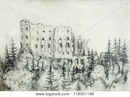 middle castle pencil drawing in forest, on old paper.