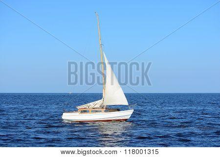 White Sail Yacht Sailing In The Sea. Riga, Latvia