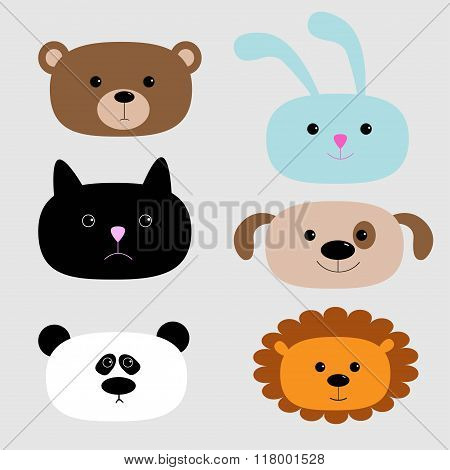 Animal Head Set. Cartoon Bear, Rabbit, Cat, Dog, Panda, Lion.