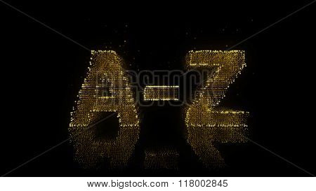 Alphabet A-z Sign Made Of Glowing Particles On Reflective Surface.