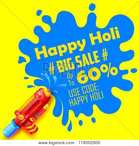 illustration of colorful splash coming out from pichkari in Holi promotional background
