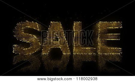 Sale Sign Made Of Glowing Particles On Reflective Surface.