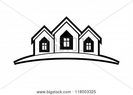 Abstract Vector Houses With Horizon Line. Real Estate Business Theme.