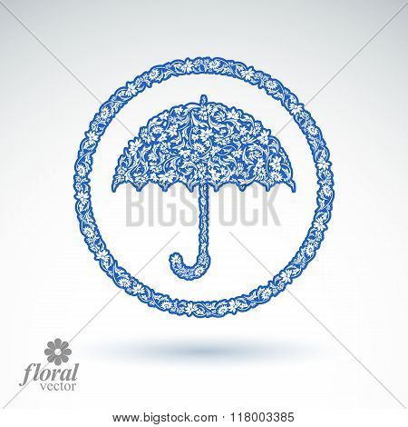 Beautiful Flower-patterned Umbrella. Stylized Accessory – Creative Parasol, Brolly Graphic Illustrat