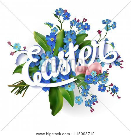Easter lettering  greeting card with egg and forget-me-not flowers