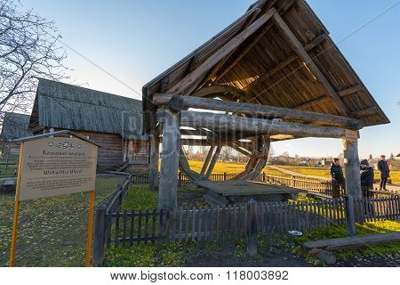 Suzdal, Russia - November 06, 2015. The well and wheel Museum Wooden Architecture in golden tourist ring