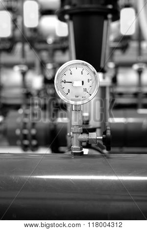 Industrial Barometer In Boiler Room