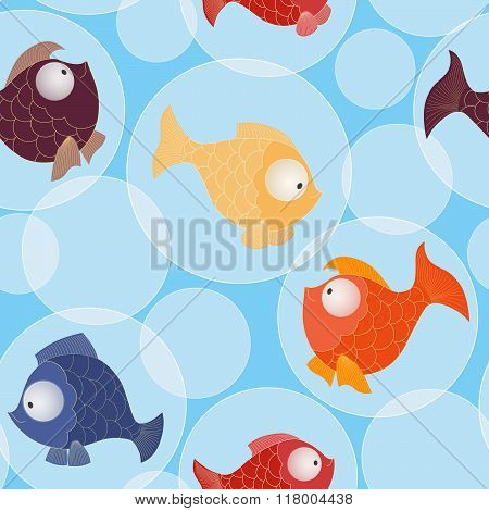 Seamless Pattern With Little Gold And Color Baby Sea Fishes