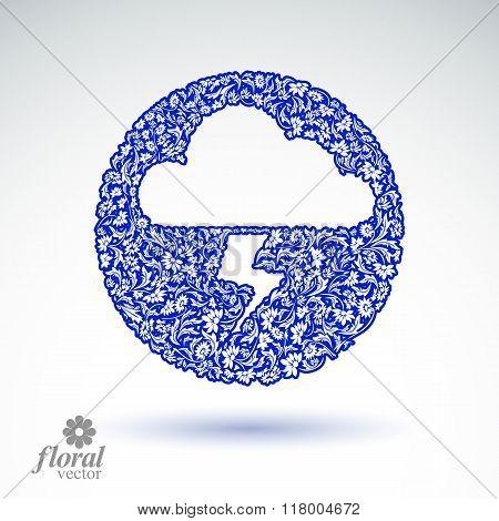 Thunder And Lightning Meteorology Pictogram. Weather Forecast Floral Simple Marking – Stylized Weath
