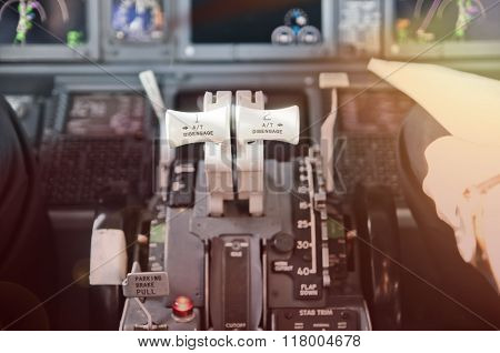 Throttle Levers, Ready To Go. Jet Airliner Cockpit.