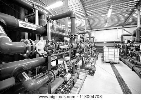 New Plastic Pipes And Equipment In Industrial Boiler Room