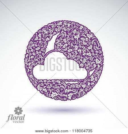 A New Moon Behind A Cloud Beautiful Art Illustration, Floral Lullaby Conceptual Icon – Sleep Time Sy