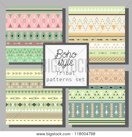 Tribal art boho seamless pattern. Ethnic geometric print