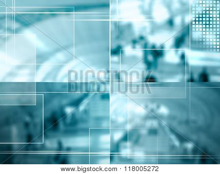 Abstract business background - urban scene with blurred city life, people, passengers and airport hall