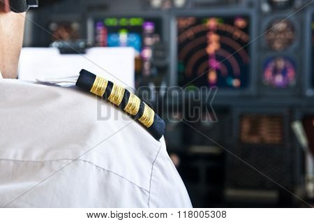 Captain Epaulet - Shoulder Of A Jet Airliner Pilot
