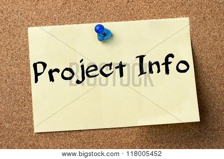 Project Info - Adhesive Label Pinned On Bulletin Board
