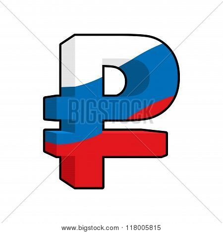 Ruble Sign Russian Money. National Currency In Russia. Beefy Big Surround Russian Cash And Flag Of R