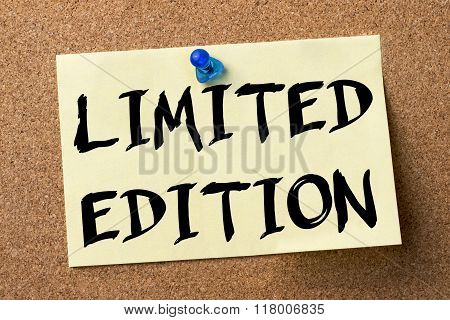 Limited Edition - Adhesive Label Pinned On Bulletin Board