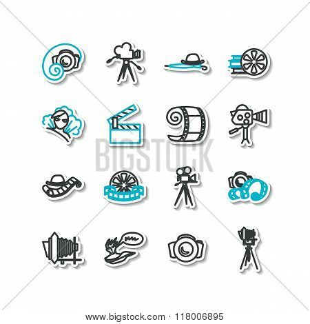 Set Of Icons - Cinema, Silent Movie, Photo Art, Cartoon