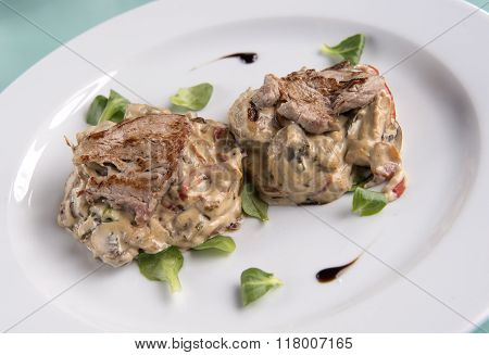 Delicious Beef Stroganoff on a white plate
