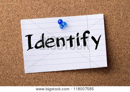 Identify - Teared Note Paper  Pinned On Bulletin Board