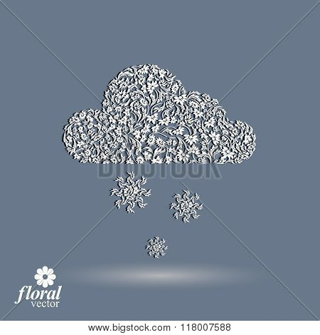 Winter Snowing Cloud With Snowflakes – Weather Forecast Simple Pictogram. Flowery Graphic Weather Co
