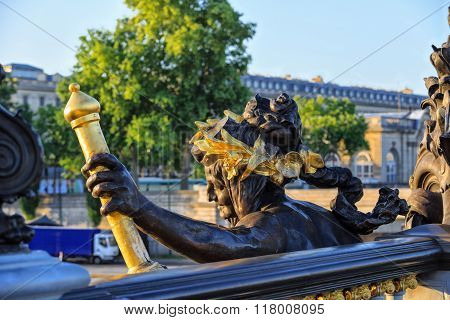 Alexander III bridge in Paris,  nymph of Seine, dawn rays