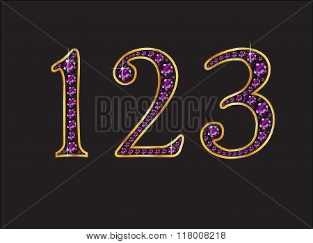 123 Amethyst Jeweled Font With Gold Channels