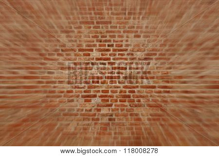 Blured Brick Wall Horizontal Background With Red, Orange And Brown Bricks
