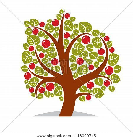 Vector Illustration Of Stylized Branchy Tree Isolated On White Background. Ecology Conservation Them