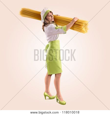 cook girl with large delicious spaghetti