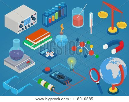 Education and School, Science research lab technology objects icon set