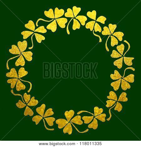 Doodle Gold Golden Clover Shamrock Circle Wreath Line Art Isolated